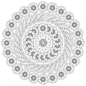Okrągły wzór w formie mandali z kwiatkiem do henny, mehndi, tatuażu, dekoracji.