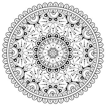 Okrągły wzór w formie mandali z kwiatkiem do henny, mehndi, tatuażu, dekoracji