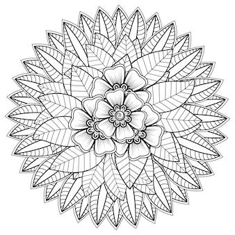 Okrągły wzór w formie mandali z kwiatową henną mehndi tatuaż ozdoba dekoracyjny ornament w etnicznym orientalnym stylu kolorowanka