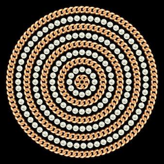 Okrągły wzór wykonany ze złotych łańcuchów i pereł