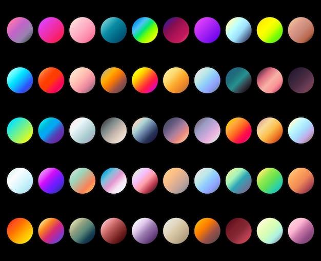 Okrągły zestaw gradientu. kolorowe osłony na płyn. modny delikatny kolor.