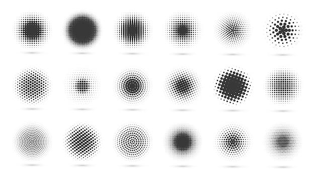 Okrągły zestaw półtonów nowoczesne kropkowane koła półtony czarne kropki gradienty