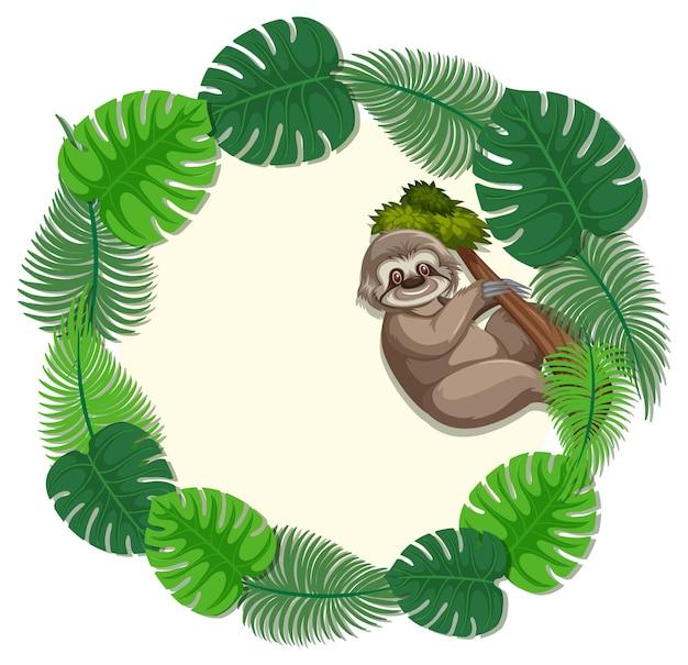 Okrągły zielony monstera pozostawia szablon transparentu z postacią z kreskówki leniwca