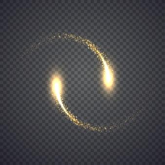 Okrągły złoty błyszczący gwiezdny pył. ilustracja na białym tle. koncepcja graficzna dla twojego projektu