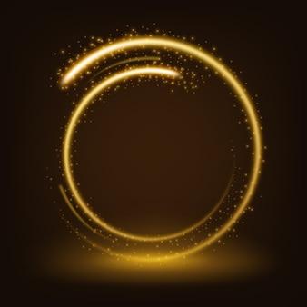 Okrągły złoty błyszczący z iskrami