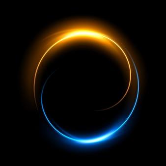 Okrągły złoty dan niebieskie światło skręcone