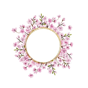 Okrągły złoty szablon ramki z różowymi kwiatami sakury