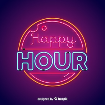 Okrągły znak happy hour neon