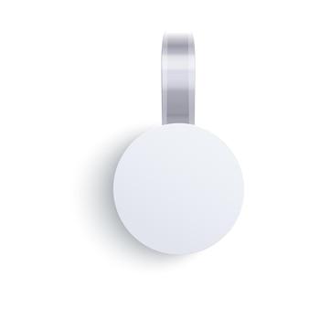 Okrągły znak woblera pusty szablon do reklamy lub promocji sprzedaży, pusta papierowa etykieta ceny lub rabatu, przednia makieta plastikowego koła na białym tle,