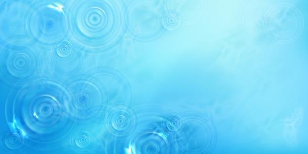 Okręgi na wodzie, widok z góry, promienisty wzór na powierzchni cieczy z rozbieżnymi pierścieniami, wirami i rozpryskami. wsady wykonane z rzucanego kamienia na tle błękitnego morza lub oceanu, realistyczna ilustracja 3d