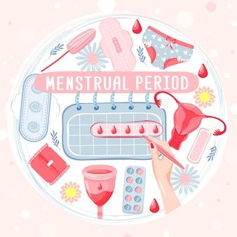 Okres menstruacyjny ustawiony w kształcie koła z kubkiem menstruacyjnym, tamponem, majtkami, kalendarzem miesięcznym, rękami kobiety, podpaską higieniczną, krwią, rumiankiem i pigułkami. koncepcja miesiączki. ilustracji wektorowych.