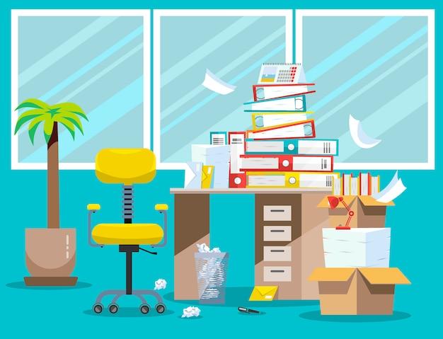 Okres składania raportów księgowych i finansistów. stos dokumentów papierowych i folderów w tekturowych pudełkach na stole biurowym. ilustracja wektorowa płaskie okna, krzesło i kosz na śmieci