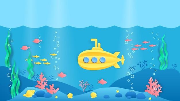 Okręt podwodny cięty z papieru