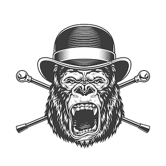 Okrutna głowa goryla w kapeluszu fedora