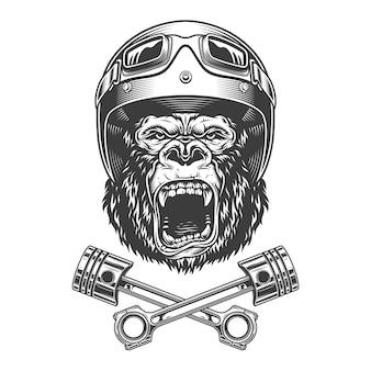 Okrutnie głowa goryla w kasku motocyklowym