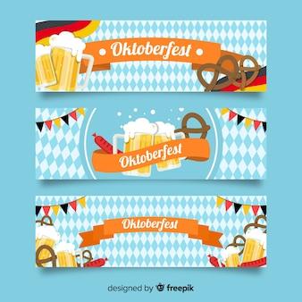 Oktoberfest banner szablon płaska konstrukcja