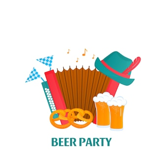 Oktoberfest - bawarski festiwal. baner z akordeonem, szklanki piwa, precel, kapelusz.