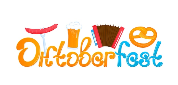 Oktoberfest - bawarski festiwal. baner z napisem i szklankami piwa, precelkiem i akordeonem.