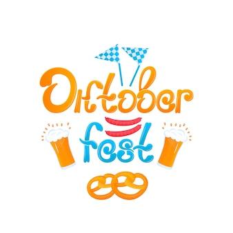 Oktoberfest - bawarski festiwal. baner z napisem i szklanki piwa, precle, kiełbaski i flagi.
