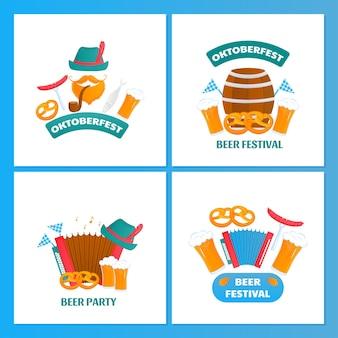 Oktoberfest bawarski zestaw plakatów ze szklankami i beczkami z piwnym preclem i akordeonem