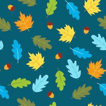 Oktoberfest bezszwowy wzór wektorowy z kolorowymi liśćmi i żołędziami na niebieskim tle