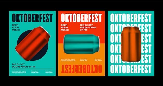 Oktoberfest celebracja plakat widok z góry butelki napojów na białym tle na ilustracji 3d