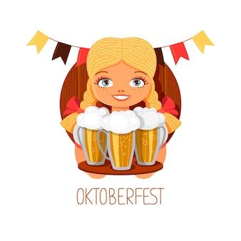 Oktoberfest dziewczyna z piwem. uśmiechnięta blondynki kelnerka z szkłami. niemiecki narodowy festiwal w ręcznie rysowane płaski. ilustracja kreskówka wektor