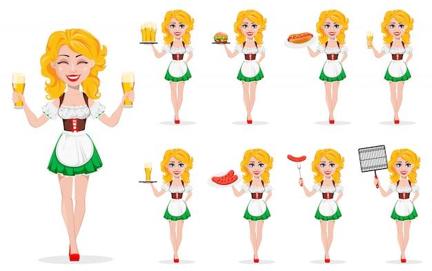 Oktoberfest, festiwal piwa. ruda dziewczyna