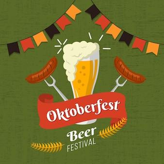 Oktoberfest ilustracja z piwem i kiełbasami