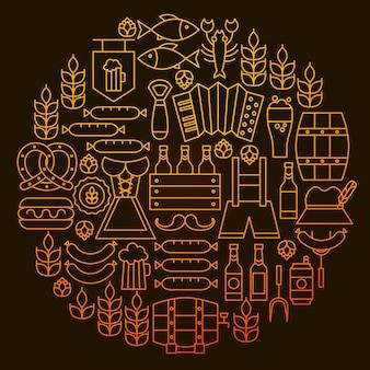 Oktoberfest linia ikona koło koncepcja. ilustracja wektorowa obiektów piwo alkoholu.
