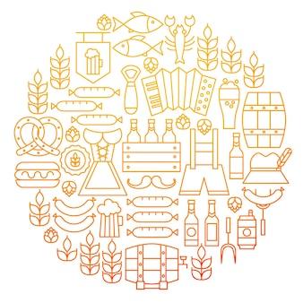 Oktoberfest linia ikona koło projekt. ilustracja wektorowa obiektów piwo alkoholu.