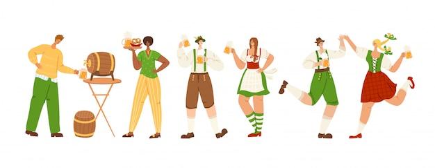 Oktoberfest lub festiwal piwa - grupa tańczących razem, trzymających kufle piwa, w tradycyjnych bawarskich strojach -