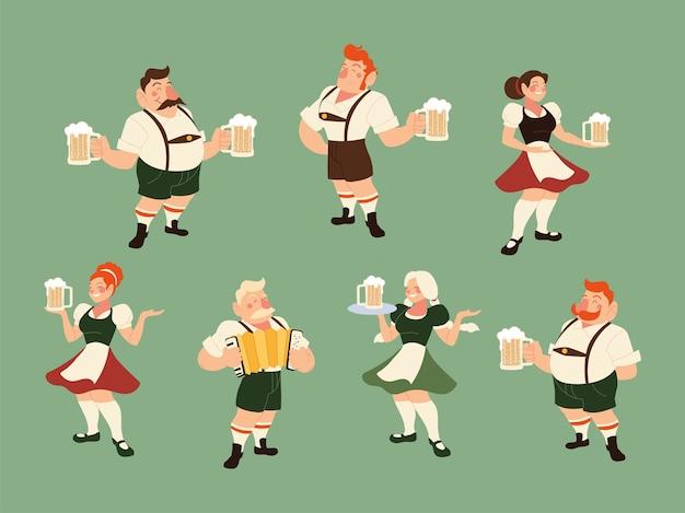 Oktoberfest mężczyźni i kobiety z tradycyjną ilustracją sukna, niemiecki festiwal i temat uroczystości