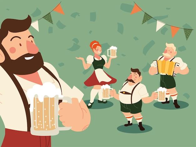 Oktoberfest mężczyźni i kobiety z tradycyjnym piwem suknem i ilustracją proporzec, niemiecki festiwal i temat uroczystości