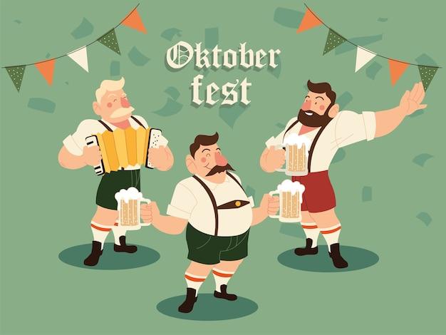Oktoberfest mężczyźni z tradycyjnym piwem suknem i ilustracją sztandaru proporzec, niemiecki festiwal i temat uroczystości