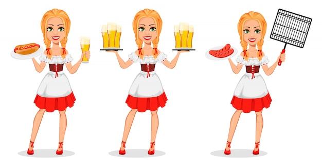 Oktoberfest. młoda dziewczyna ubrana w bawarski strój
