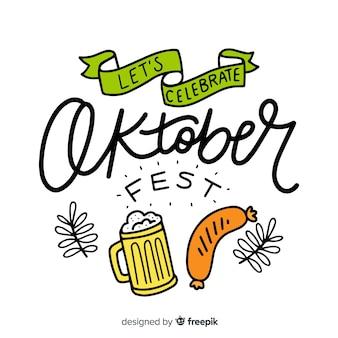 Oktoberfest napis tło z elementami