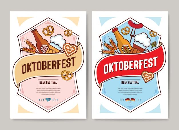 Oktoberfest plakat szablon płaski