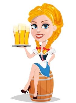 Oktoberfest. rudowłosa dziewczyna trzyma piwo