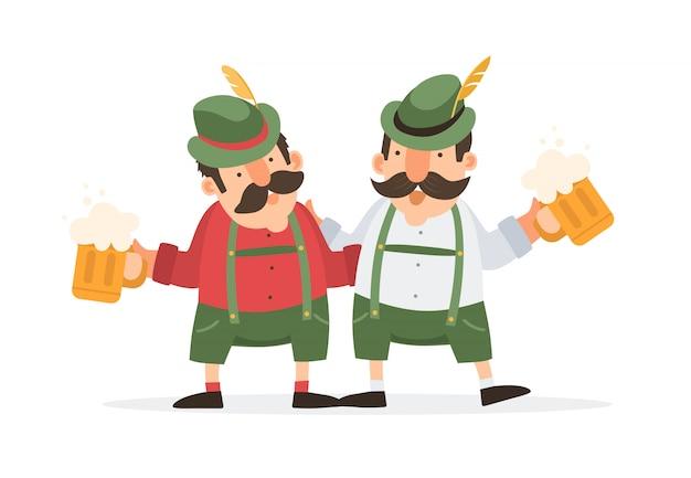 Oktoberfest. świętują dwa śmieszne kreskówki męskie w tradycyjnym bawarskim stroju z kuflami piwa