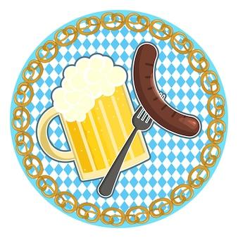 Oktoberfest symbol z piwem i kiełbasą na okrągłym tle flagi bawarii