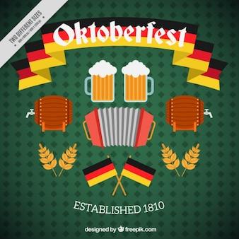 Oktoberfest tła z elementami w płaskiej konstrukcji