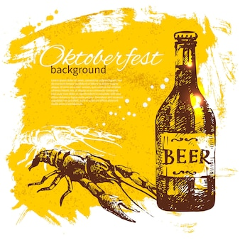 Oktoberfest tło. ręcznie rysowane ilustracja. menu w stylu retro z rozchlapanym piwem