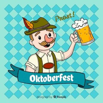 Oktoberfest tło z mężczyzna świętować