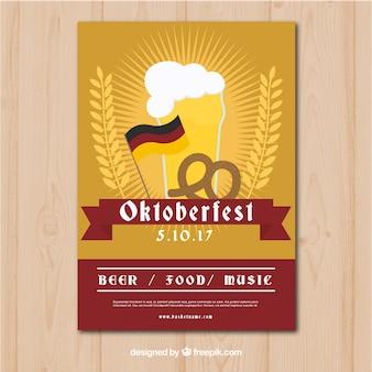 Oktoberfest tradycyjny plakat z płaskim deseniem