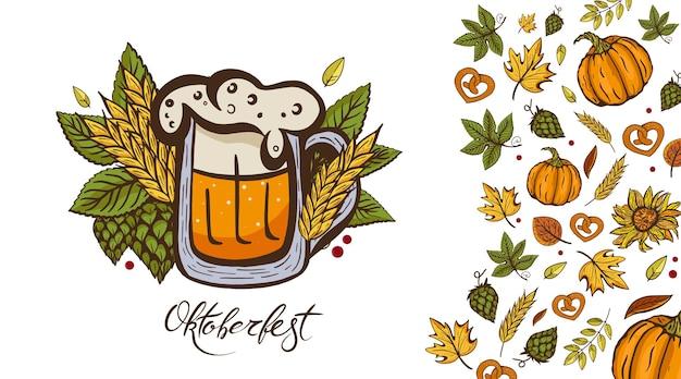 Oktoberfest transparent ze szklanką piwa i jesiennymi liśćmi.