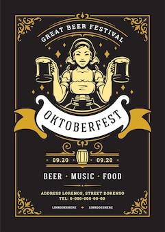 Oktoberfest ulotka lub plakat retro typografia szablon projektu willkommen zum festiwal piwa ilustracja wektorowa uroczystości