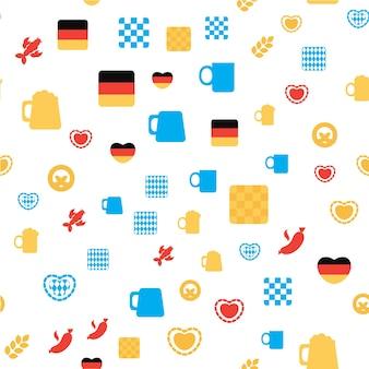 Oktoberfest wzór. kolorowe ozdoby festiwalu piwa do druku, tkaniny, tapety, tła. wektor