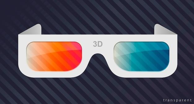 Okulary 3d z kartonu lub białego plastiku do oglądania filmów w kinie.