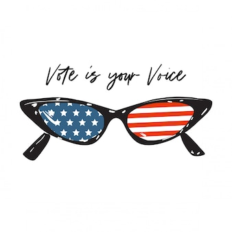 """Okulary cateye z amerykańską flagą z odręcznym napisem """"głosuj swoim głosem"""" do głosowania"""